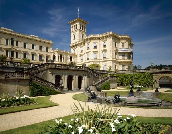 OSBORNE HOUSE, East Cowes, Isle of Wight. View towards the pavilion from the lower terrace