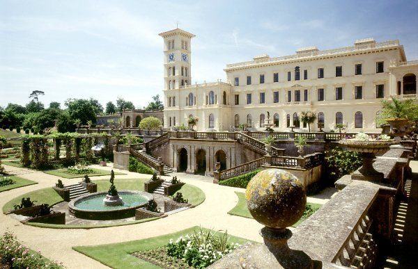 OSBORNE HOUSE, Isle of Wight. View from upper terrace overlooking the Andromeda fountain