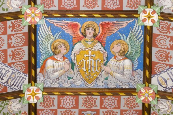 CARISBROOKE CASTLE, Isle of Wight. Interior view. Detailed view of three angels which can be found in the Chapel of St Nicholas