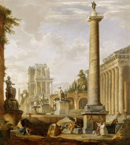 "MARBLE HILL HOUSE, Twickenham, Richmond, Middlesex. ""Capriccio of Roman ruins with Trajan's Column"" by Giovanni Paolo PANINI (c1692-1765). Pannini"