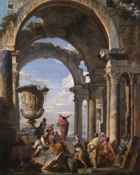 "APSLEY HOUSE, London. ""St Paul preaching at Athens"" 1737 by Giovanni Paolo PANINI (1691-1765). WM 1505-1948. Pannini"