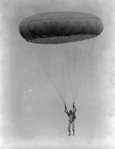 Parachutist descending 1930s. Canopy fully open. Aerofilms Collection (see Links)