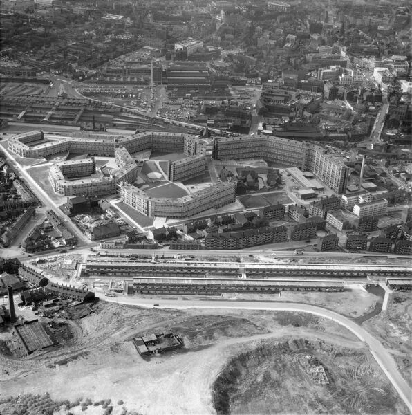 Park Hill Estate, Sheffield. Photographed in 1961, soon after it was opened. It is now a listed building. Aerofilms Collection