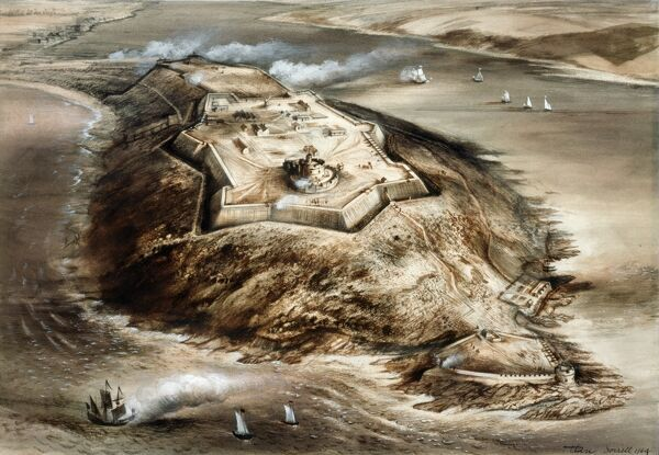 PENDENNIS CASTLE, Falmouth, Cornwall. Aerial view reconstruction drawing by Alan Sorrell