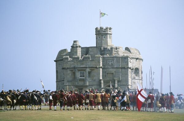 PENDENNIS CASTLE, Falmouth, Cornwall. Historical re-enactment of the siege of Pendennis Castle in 1646