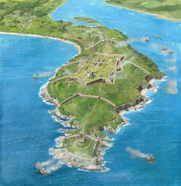 PENDENNIS CASTLE, Cornwall. Aerial reconstruction drawing by Ivan Lapper of Pendennis as it may have looked during the siege of 1646