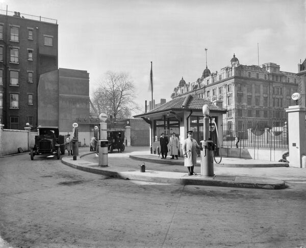 EUSTON ROAD, London. Anglo-American Oil Company petrol station