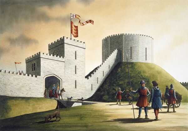 PICKERING CASTLE, North Yorkshire. Motte and bailey (stone castle). Reconstruction drawing by Simon Hayfield