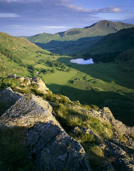 SIDE PIKE, Lake District, Cumbria. View from Side Pike showing Blea Tarn and Tilberthwaite fells in the background