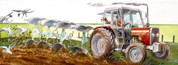 Reconstruction drawing of present day view of tractor ploughing field by Judith Dobie, English Heritage Graphics Team. Farming