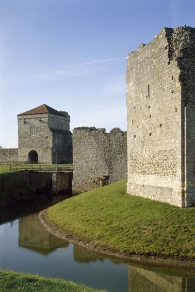 PORTCHESTER CASTLE, Hampshire. The Landgate Moat and Inner Bailey wall from the south