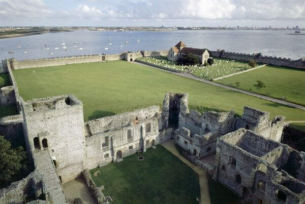 PORTCHESTER CASTLE, Hampshire. View across the site and Portchester Harbour from the top of the keep