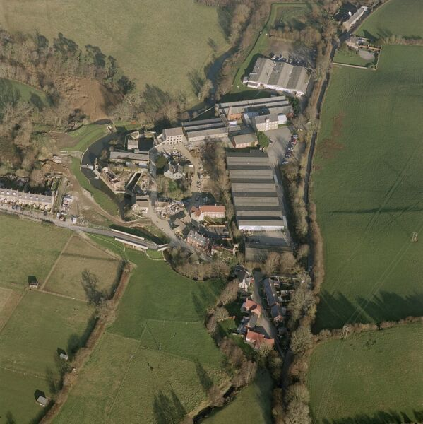 Mill at Pymore, near Bradpole, Dorset. This aerial photograph shows Pymore Mills, a range of mill buildings constructed in about 1850