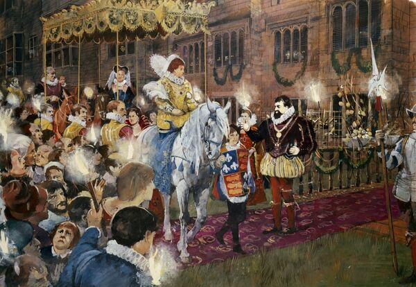 KENILWORTH CASTLE, Warwickshire. A reconstruction drawing by Ivan Lapper of Queen Elizabeth I being welcomed to Kenilworth by Robert Dudley in July 1575