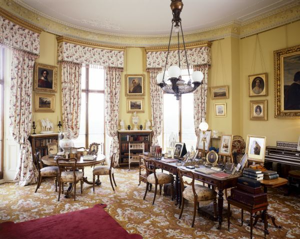 OSBORNE HOUSE, Isle of Wight. View of Queen Victoria's Sitting Room. Some items shown maybe on loan from the Royal Collection