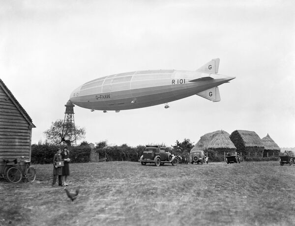 R101 at Cardington, Bedfordshire, 1929. Built 1926-30 at the Royal Airship Works at Cardington, the final test flight was 1st October 1930. Three days later the R101 departed for Karachi but crashed into a hillside near Beauvais, north of Paris