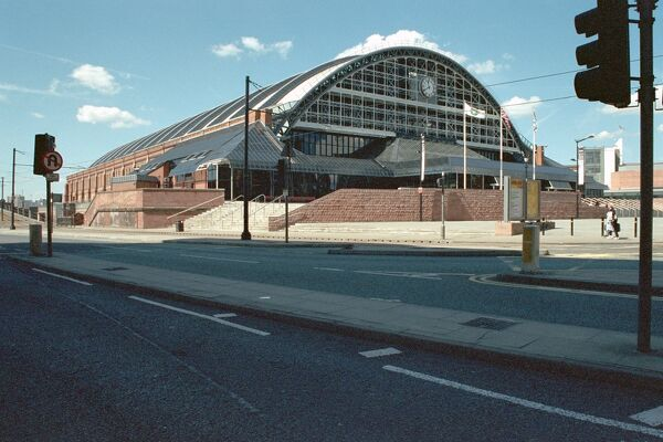 Railway station, now exhibition hall and car park, Manchester. IoE 458616