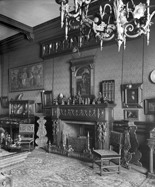 BATH HOUSE, 82 Piccadilly, London. Interior view. The fireplace in the Red Room at Bath House. Commissioned by Sir Julius Wernher and photographed by H Bedford Lemere in March 1911. Bath House was demolished in 1960