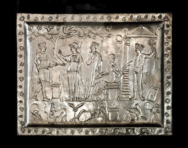 CORBRIDGE Roman Town Museum, Northumberland. Replica of the Corbridge Lanx. Rectangular Roman silver platter depicting Apollo, Artemis and Athena. The original was discovered in 1735 and is owned by the British Museum