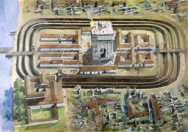 RICHBOROUGH ROMAN FORT, Kent. Aerial reconstruction drawing by Ivan Lapper of middle Roman fort - 2nd stage showing port and ceremonial arch