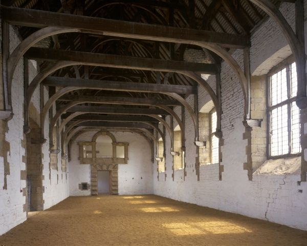BOLSOVER CASTLE, Derbyshire. Interior view of the Riding School looking towards the gallery