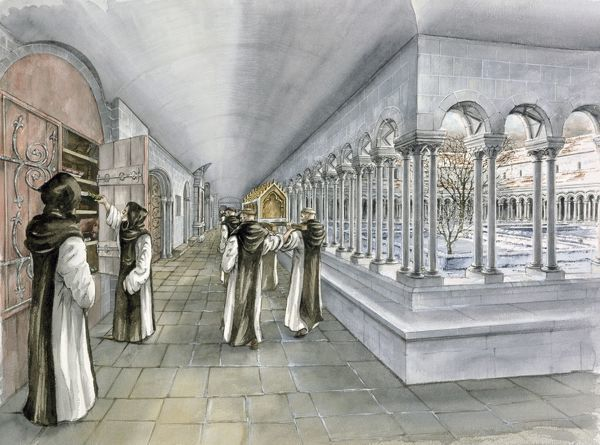 RIEVAULX ABBEY, North Yorkshire. Reconstruction drawing of the cloister in the mid 13th century by Peter Dunn (English Heritage Graphics Team)