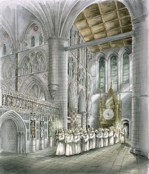 RIEVAULX ABBEY, North Yorkshire. Interior view reconstruction drawing of the South transept in the 15th century by Peter Dunn (English Heritage Graphics Team)