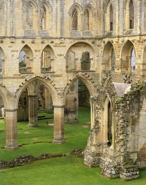 RIEVAULX ABBEY, North Yorkshire. The arches and buttresses of the north side of the abbey church