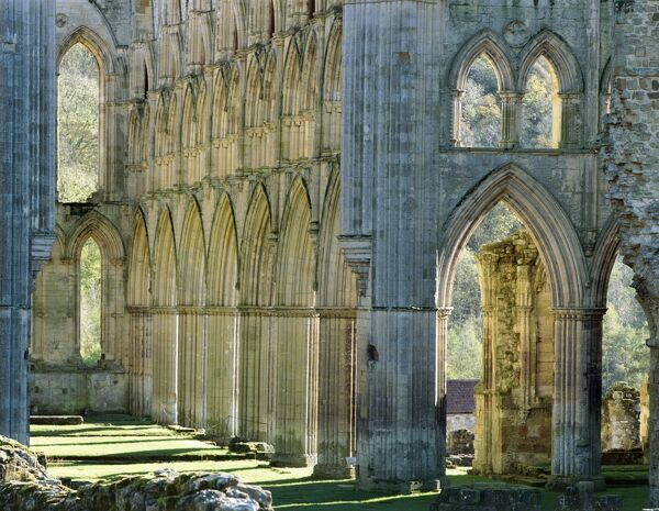 RIEVAULX ABBEY, North Yorkshire. The arches on the south side of the presbytery from the middle of the abbey church - autumn colour