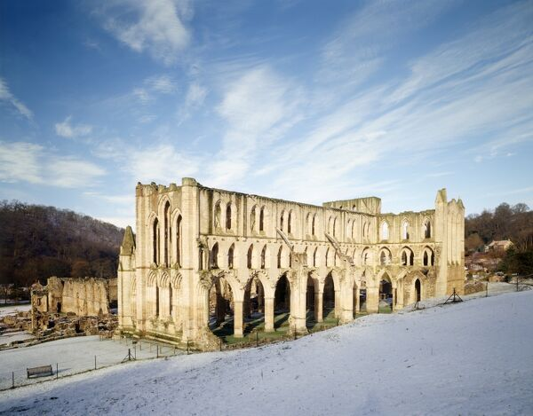 RIEVAULX ABBEY, North Yorkshire. The abbey church from the North East with snow