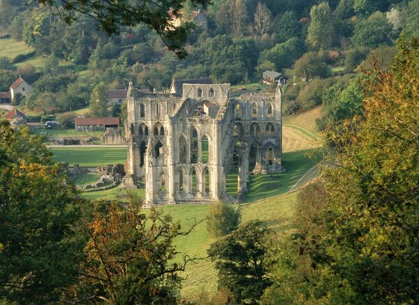 RIEVAULX ABBEY, North Yorkshire. View down onto the abbey, seen from Rievaulx Terrace