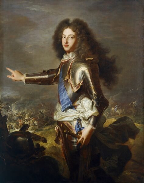 "KENWOOD HOUSE, THE IVEAGH BEQUEST, London. ""Louis duc de Bourgogne, later Dauphin of France"" c.1702 by Hyacinth RIGAUD (1659-1743) and Joseph PARROCEL (1646-1704) (battle scene). IBK 958"