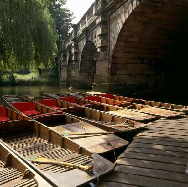RIVER CHERWELL, Oxford, Oxfordshire. Punts moored at Magdalen Bridge
