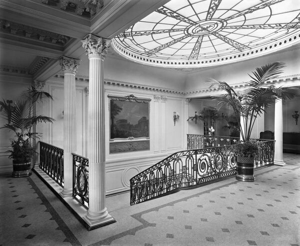 RMS AQUITANIA. Interior view of the A Deck staircase