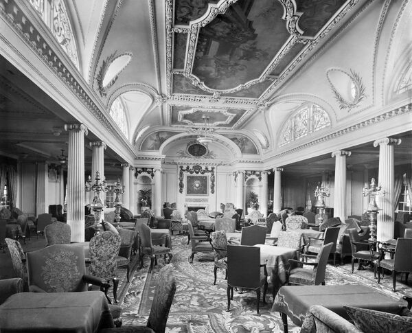 RMS AQUITANIA. Interior view towards the fireplace in the Palladium Lounge. The Aquitania was launched in 1913 as the third of the Cunard Line express ocean liners (after the Mauretania and Lusitania), and the last four-stack liner to be built
