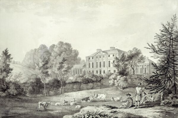 "KENWOOD HOUSE, THE IVEAGH BEQUEST, London. ""A View of Kenwood"" 1780. Exterior view, south front. A wash drawing by George Robertson showing the garden boundary wall of the estate before the parkland was extended under the second Earl"