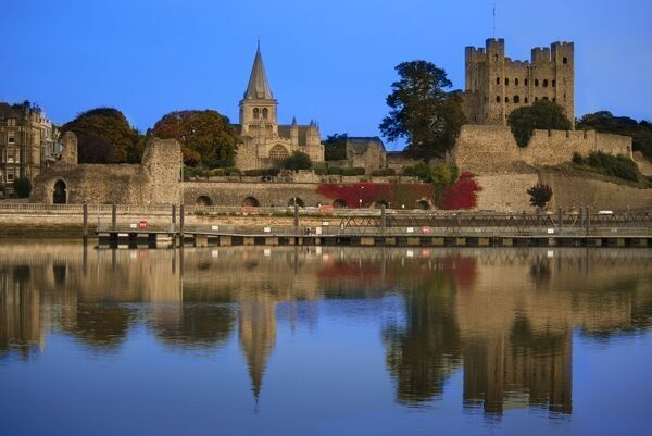 ROCHESTER CASTLE, Rochester, Kent. View from across the River Medway towards Rochester Castle and Cathedral