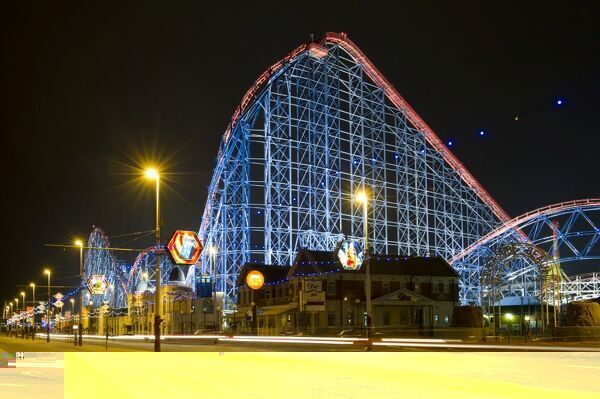 BLACKPOOL, Lancashire. Night view of the roller coaster at Blackpool Pleasure Beach