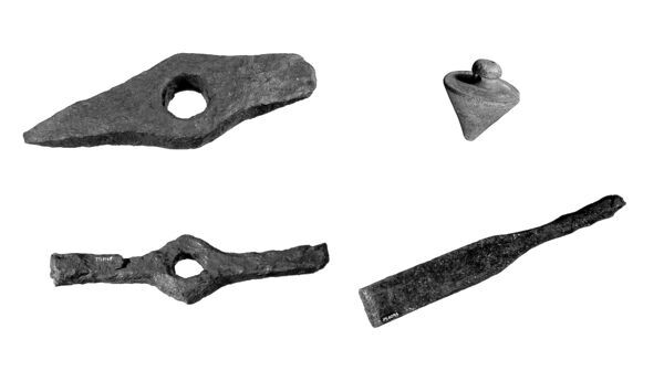 HADRIAN'S WALL. Roman building tools. Top left to right - mason's hammer, plumb bob. Bottom left to right - slater's hammer and chisel