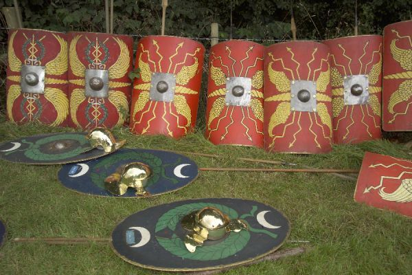 Roman shields, helmets and spears. Re-enactment event