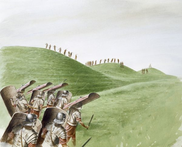 MAIDEN CASTLE, Dorset. Reconstruction drawing by Paul Birkbeck of Roman soldiers in battle with Celtic tribes at Maiden Castle