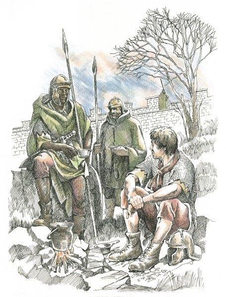 HADRIAN'S WALL, Northumberland. Reconstruction drawings by Frank Gardiner (English Heritage Graphics Team) showing Roman soldiers along the wall relaxing around a camp fire