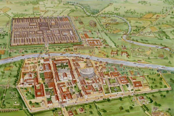 YORK, North Yorkshire, c.210 AD. Aerial reconstruction drawing by Tracy Croft, English Heritage Graphics Team