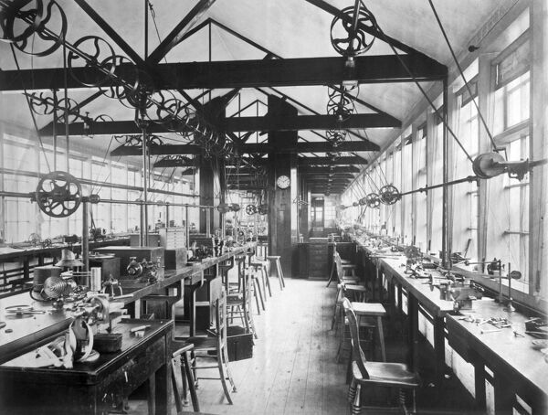 ROTHERHAMS WATCH FACTORY, Spon Street, Spon End, Coventry, West Midlands. Interior view of pinion room in watch factory, with machines. Photographed by Bedford Lemere for Waterlow & Son in 1890