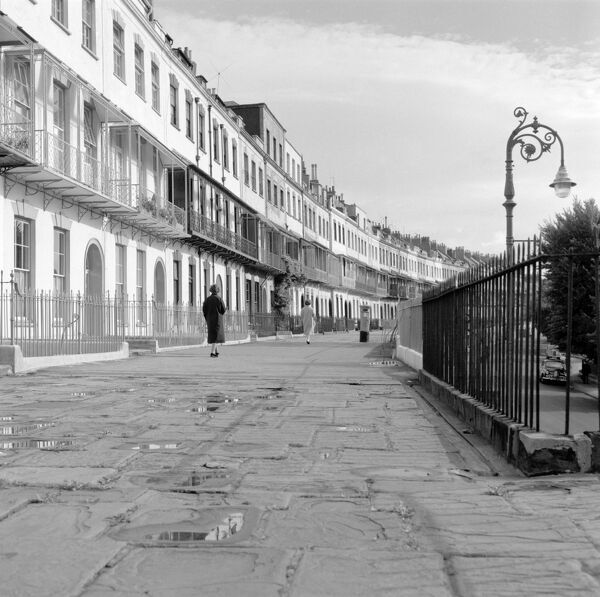 ROYAL YORK CRESCENT, Clifton, Bristol. View of Royal York Crescent, Clifton, which dates from circa 1810-20. Photographed by Eric de Mare. Date range: 1945 - 1980