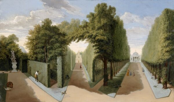 "CHISWICK HOUSE, London. "" A View of the Patte d'oie with the Bagnio and the Domed Building "" c1728-9 by Pieter Andreas RYSBRACK (1690-1748)"