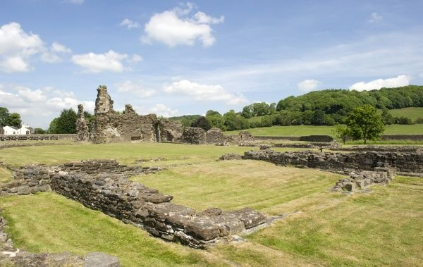 SAWLEY ABBEY, Lancashire. General view across the cloister