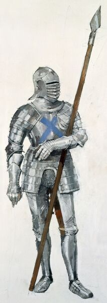 BATTLE OF FLODDEN FIELD, Northumberland. Reconstruction drawing of a Scottish soldier, with pike, wearing armour at the Battle of Flodden, 1513 by Ivan Lapper
