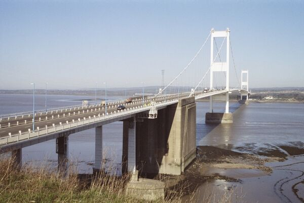 Grade I listed First Severn Crossing carrying the M4. It was by far the longest span in England when it was built. Gloucestershire. IoE 479259