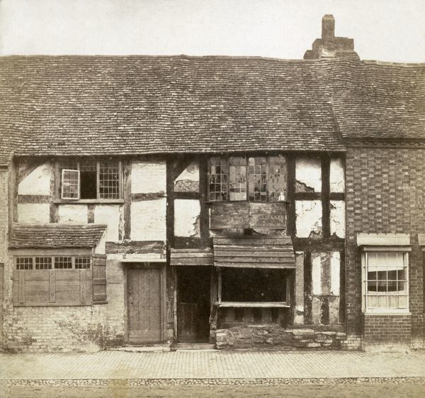 SHAKESPEARE'S BIRTHPLACE, Henley Street, Stratford-upon-Avon, Warwickshire. Shakespeare's birthplace before the restoration work of 1857. Photograph attributed to Hugh Welch Diamond, c.1855